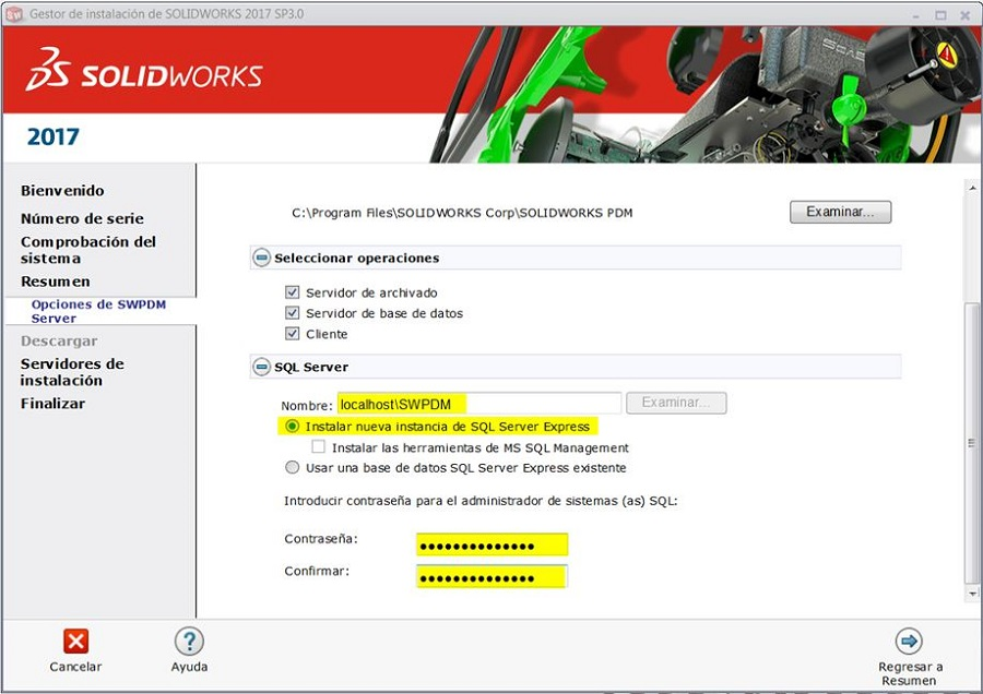 SQL server de solidworks pdm
