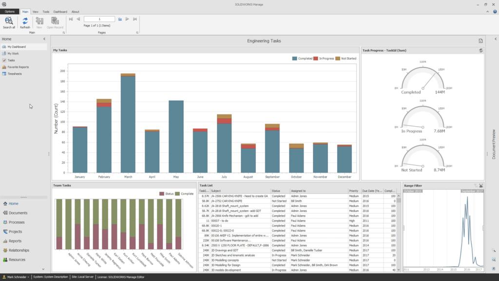 solidworks manage 2018 informes y gráficos