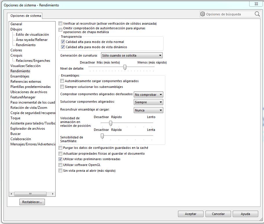 opciones de rendimiento en la configuracion de solidworks