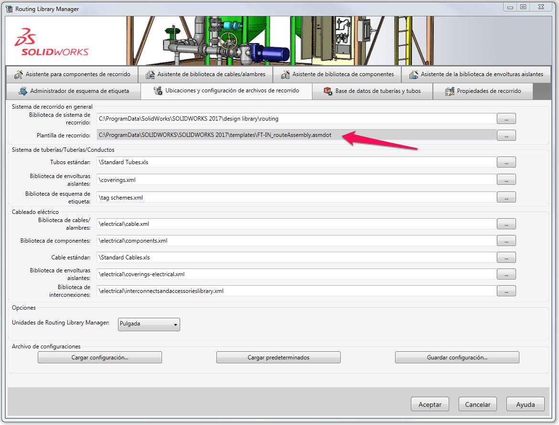 Cómo configuro las plantillas en SOLIDWORKS Routing?