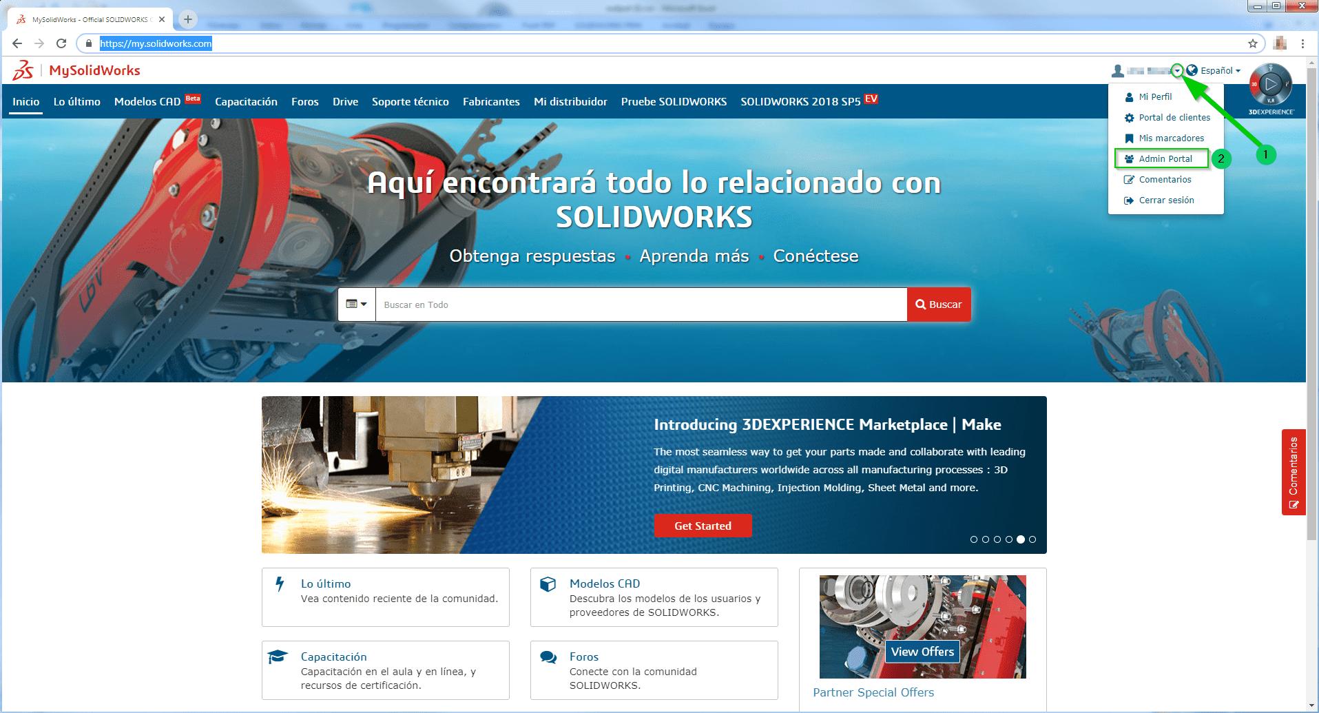 admin portal de mysolidworks
