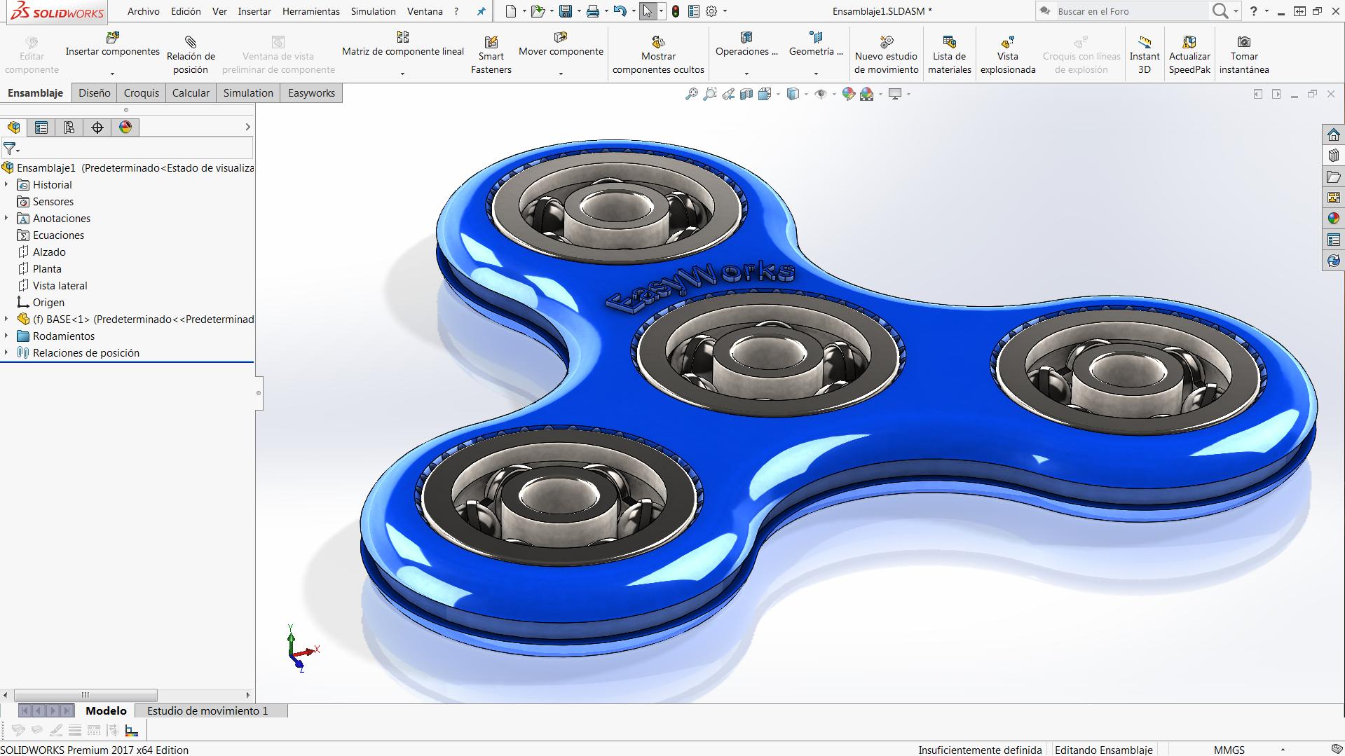diseñar spinner solidworks
