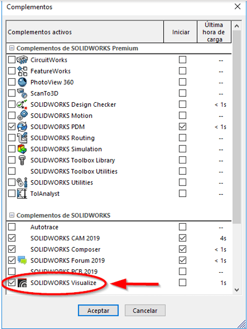 visualize en solidworks cad